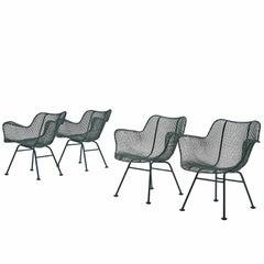 Russell Woodard Set of Four Dark Green 'Sculptura' Chairs