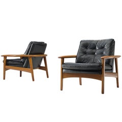 Pair of Easy Chairs in Black Leather and Teak, Denmark, 1960s