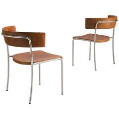 Erik Karlström Side Chairs in Cognac Leather, 1965