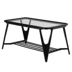 Cesare Lacca Coffee Table in Glass and Stained Oak