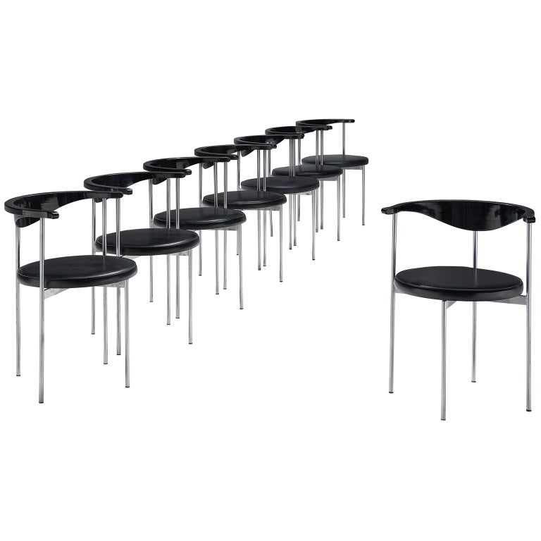 Frederik Sieck Set of Ten Black Dining Chairs For Sale