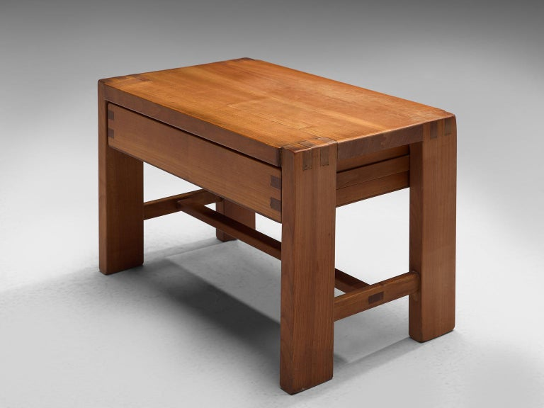 Pierre Chapo, nightstand T7 or side table, elm, France, 1960s.  This side table is designed by the master woodworker Pierre Chapo. As of all of his designs, this nightstand has a very modest and simplistic design. All attention goes to the natural