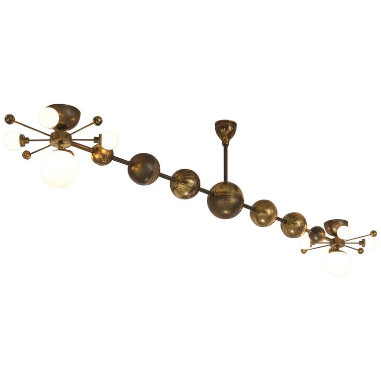 Large Sputnik Chandelier in Glass and Patinated Brass, circa 1960 For Sale