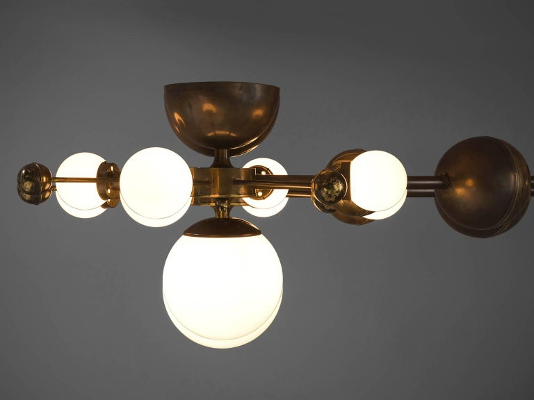 Mid-20th Century Large Sputnik Chandelier in Glass and Patinated Brass, circa 1960 For Sale