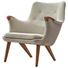 Danish Lounge Chair in Oak and Light Grey Fabric, 1960s