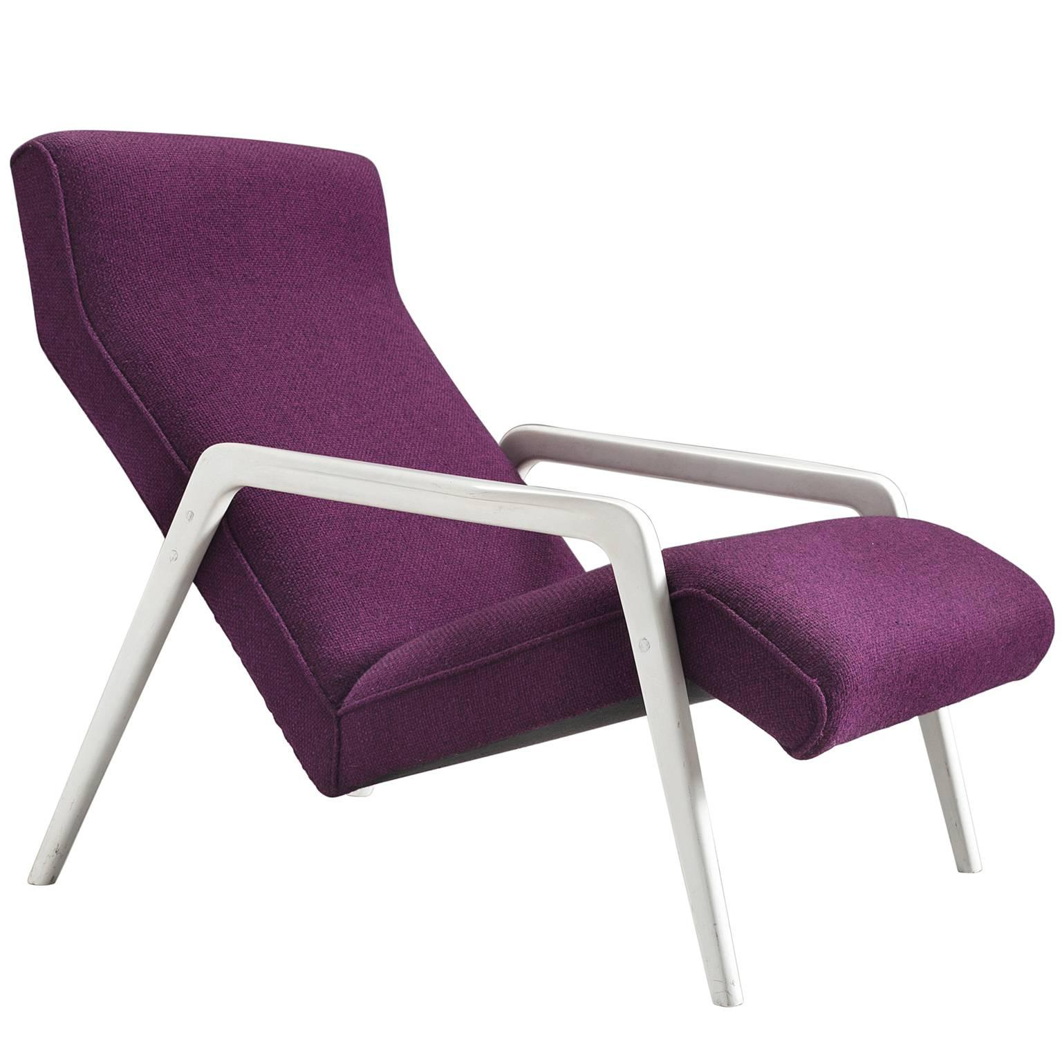 Merveilleux Italian Lounge Chair In Purple Upholstery For Sale