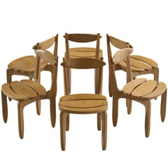 Guillerme & Chambron Set of Dining Chairs in Solid Oak