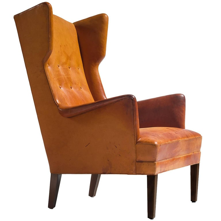 Cognac Wingback Easy Chair Attributed to Frits Henningsen  For Sale