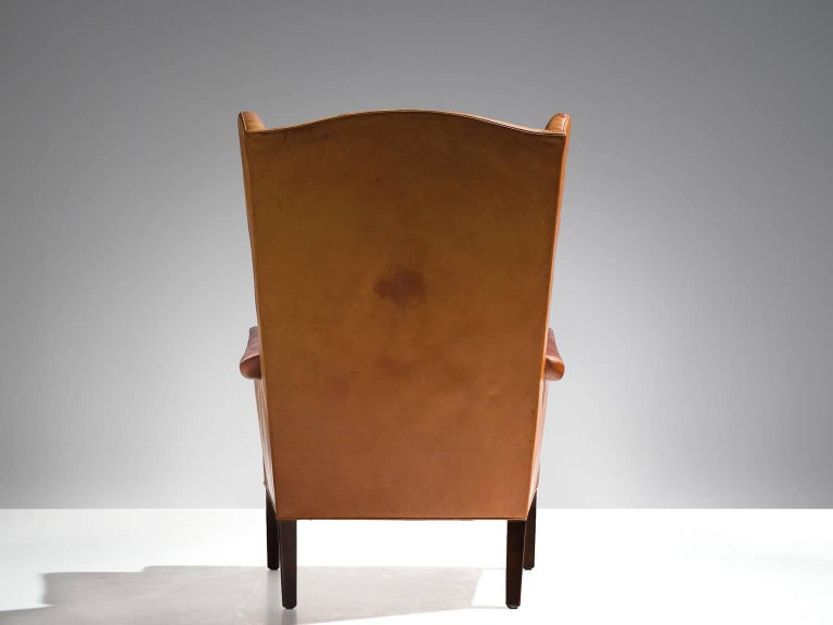 Cognac Wingback Easy Chair Attributed to Frits Henningsen  In Good Condition For Sale In Waalwijk, NL
