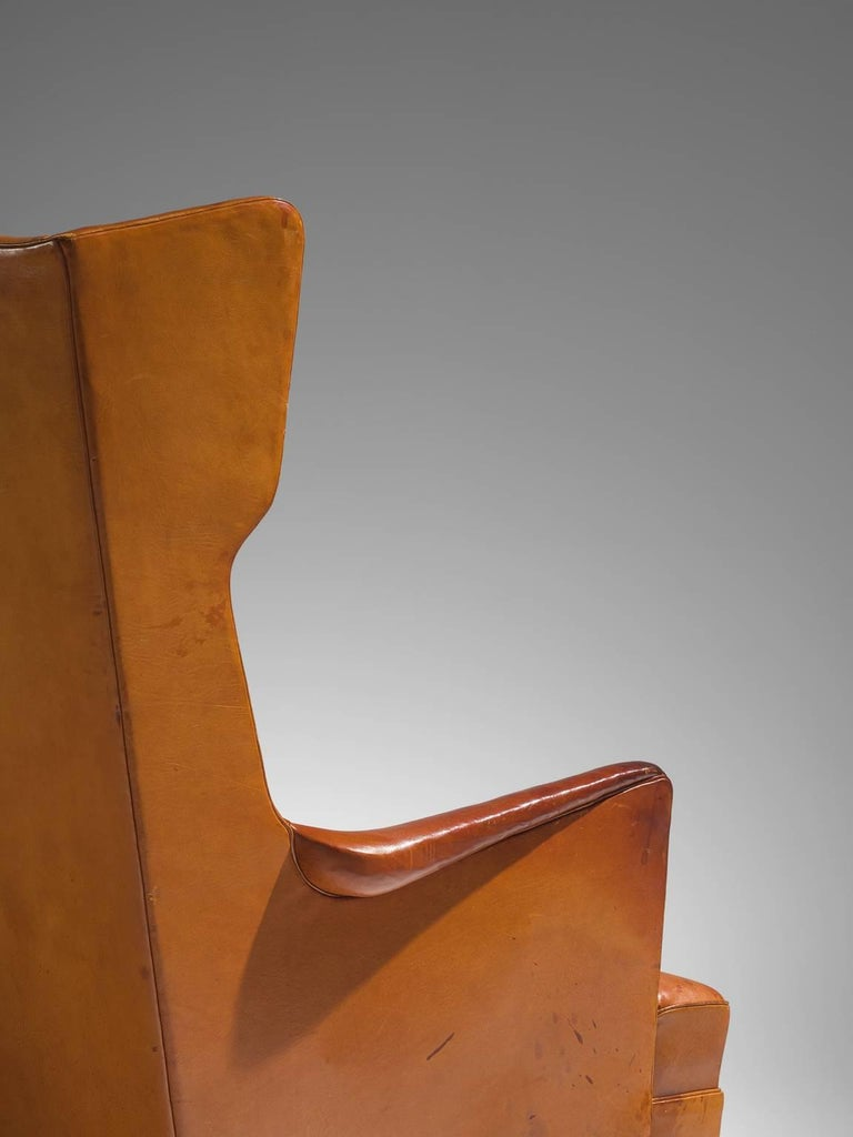 Leather Cognac Wingback Easy Chair Attributed to Frits Henningsen  For Sale