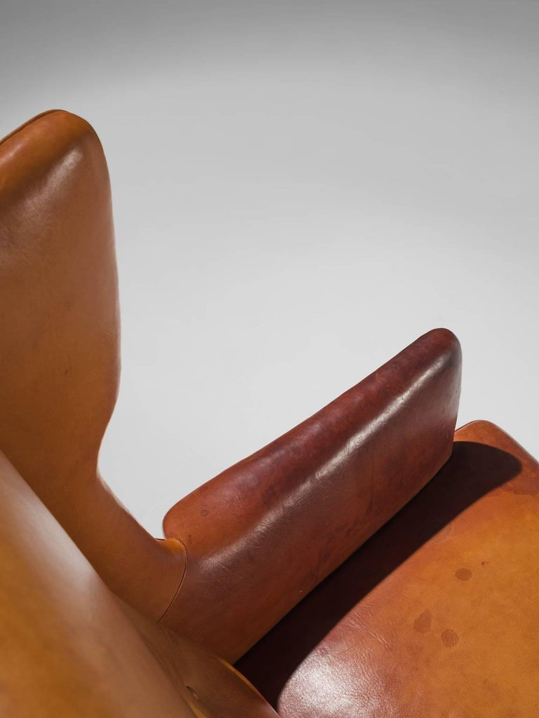 Cognac Wingback Easy Chair Attributed to Frits Henningsen  For Sale 1