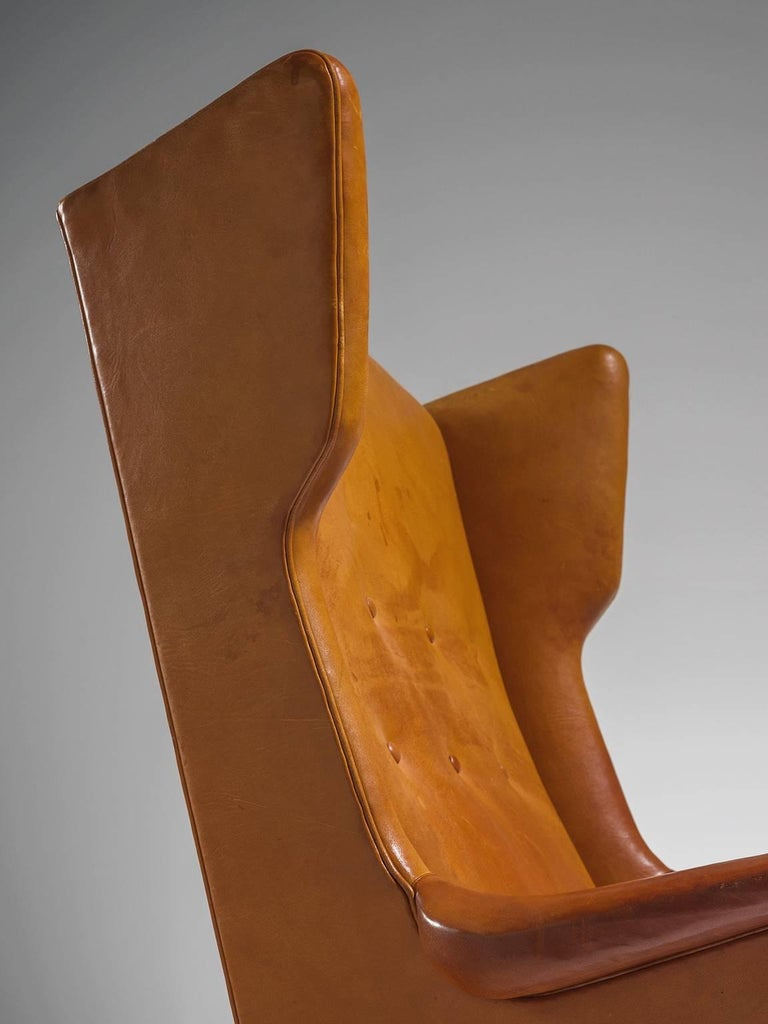 Cognac Wingback Easy Chair Attributed to Frits Henningsen  For Sale 3