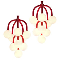 Set of Two Coral Red Scandinavian Chandeliers