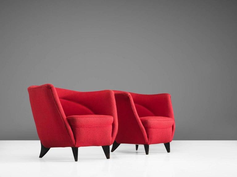 Mid-Century Modern Guglielmo Veronesi Pair of High Back Easy Chairs For Sale