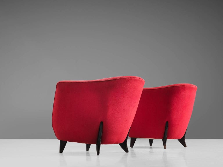 Guglielmo Veronesi Pair of High Back Easy Chairs In Good Condition For Sale In Waalwijk, NL