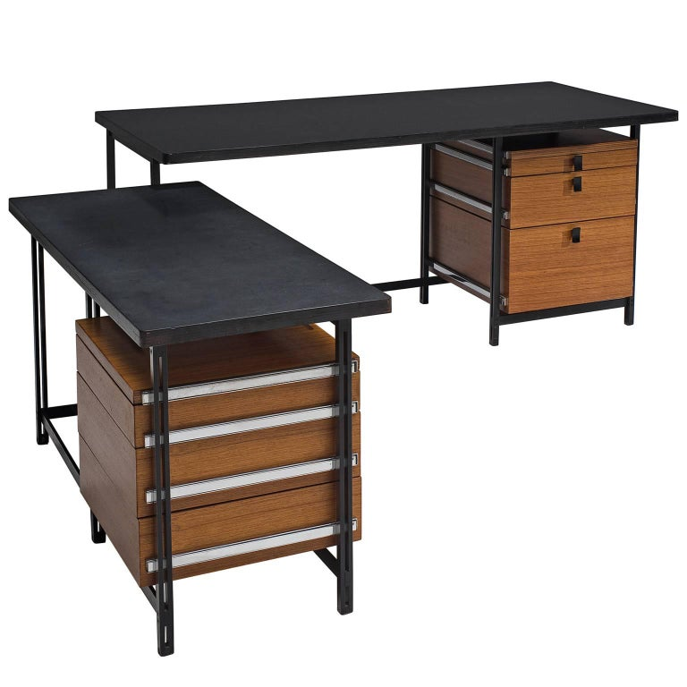 Jules Wabbes Early Executive Desk in Teak and Metal For Sale