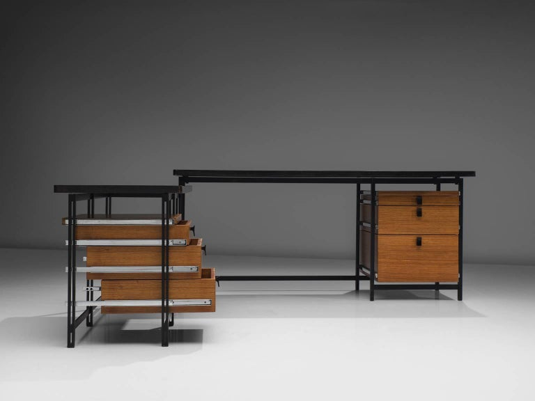 Belgian Jules Wabbes Early Executive Desk in Teak and Metal For Sale