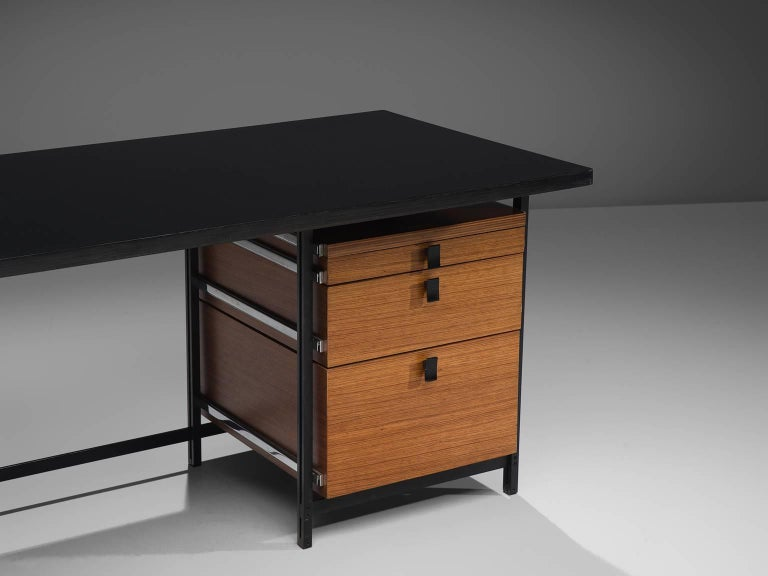 Steel Jules Wabbes Early Executive Desk in Teak and Metal For Sale
