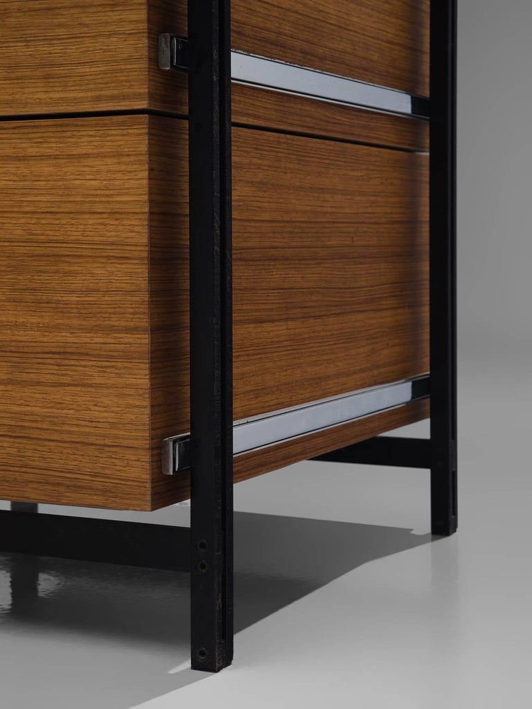 Jules Wabbes Early Executive Desk in Teak and Metal For Sale 2