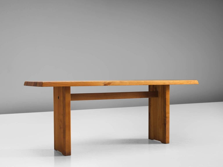 Pierre Chapo, dining table model T14D, elmwood, France, 1960s.   This dining table is designed by the French designer Pierre Chapo. The rectangular tabletop with sloping edges, rests on a two-legged base. Strong an simplified design which clearly