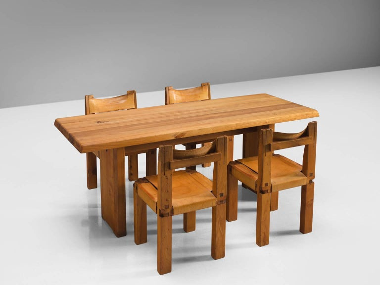 Pierre Chapo Patinated Elm Dining Table For Sale 2