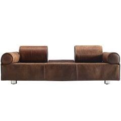 Marzio Cecchi Rare Brown Buffalo Leather Sofa