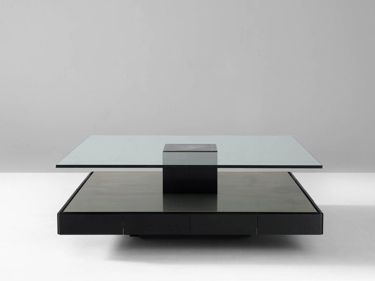 Coffee table model T147, in metal, wood and glass, by Marco Fantoni for Tecno, Italy, 1969.