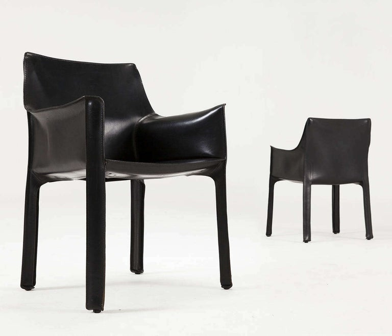 Mario Bellini for Cassina, Pair of CAB 415 armchairs, metal and black leather, Italy, 1987.