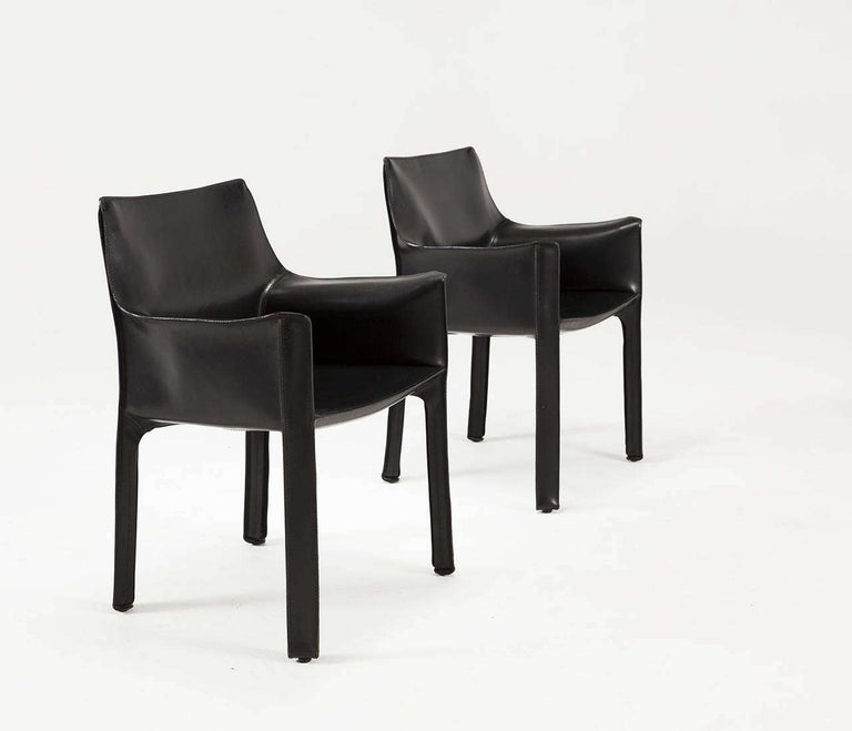 Italian Mario Bellini for Cassina Black Leather CAB Chairs For Sale