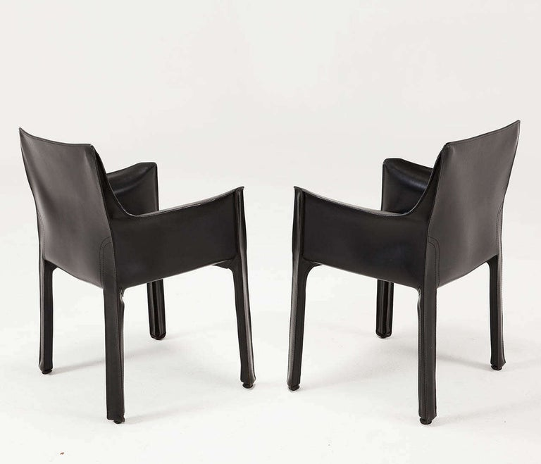 Late 20th Century Mario Bellini for Cassina Black Leather CAB Chairs For Sale
