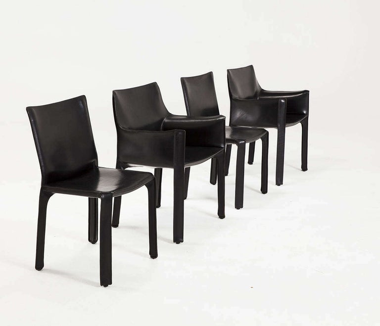 Mario Bellini for Cassina Black Leather CAB Chairs For Sale 3