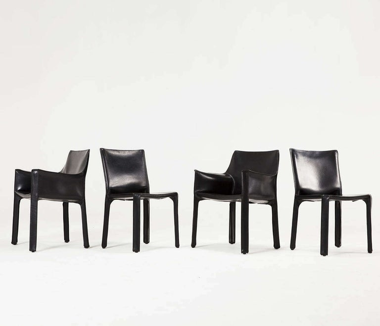 Mario Bellini for Cassina Black Leather CAB Chairs For Sale 4