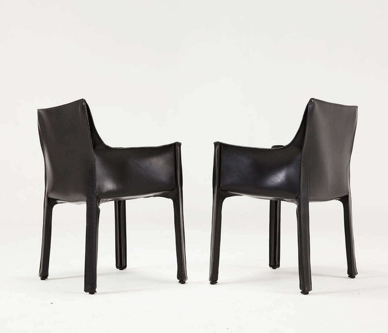 Mario Bellini for Cassina Black Leather CAB Chairs For Sale 5