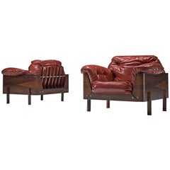 Rare Pair of Brazilian Armchairs in Rosewood and Red Leatherette