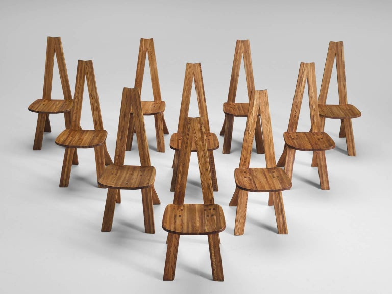 French Pierre Chapo Set of Ten 'Chlacc' Dining Chairs, Model S45 For Sale