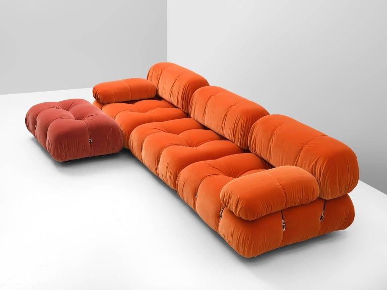 Italian Customizable Mario Bellini 'Camaleonda' Sofa in Tri-Tone Velvet For Sale