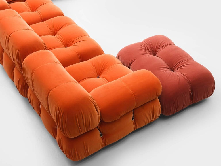 Customizable Mario Bellini 'Camaleonda' Sofa in Tri-Tone Velvet In Good Condition For Sale In Waalwijk, NL