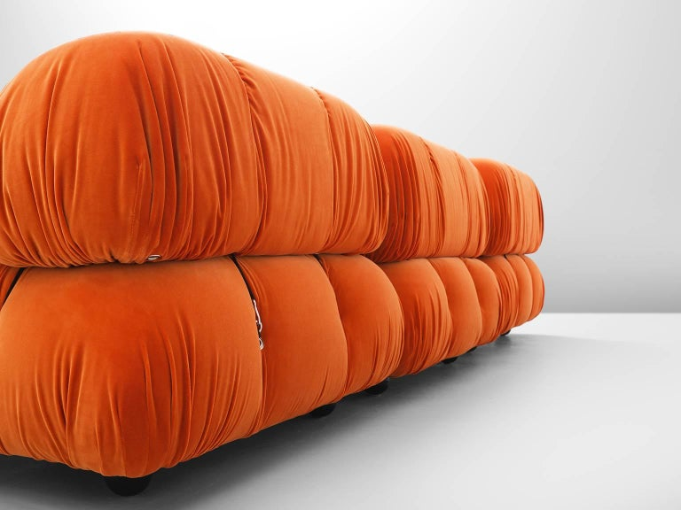 Late 20th Century Customizable Mario Bellini 'Camaleonda' Sofa in Tri-Tone Velvet For Sale