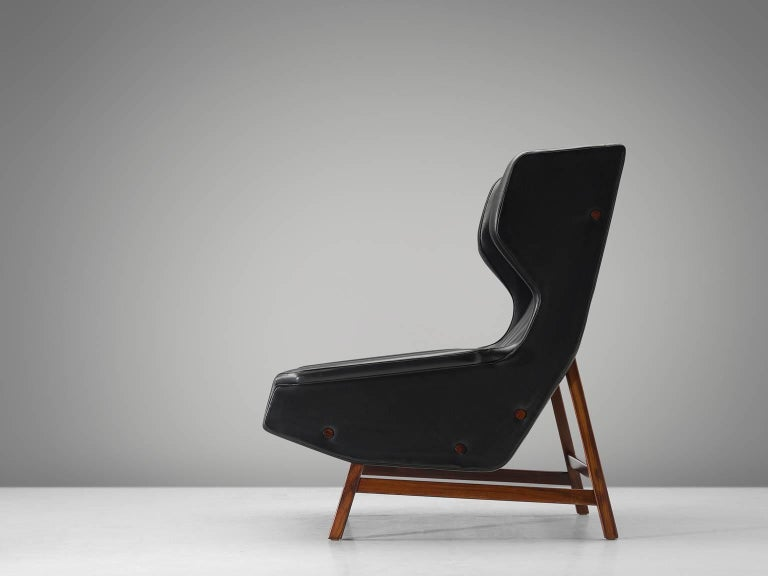 Mid-Century Modern Gianfranco Frattini Lounge Chair Reupholstered with Aniline Leather  For Sale