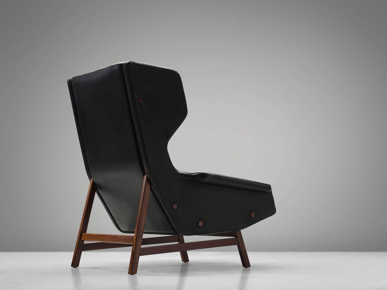 Italian Gianfranco Frattini Chair Reupholstered with Aniline Leather Rosewood For Sale