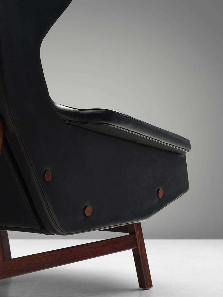 Mid-20th Century Gianfranco Frattini Chair Reupholstered with Aniline Leather Rosewood For Sale