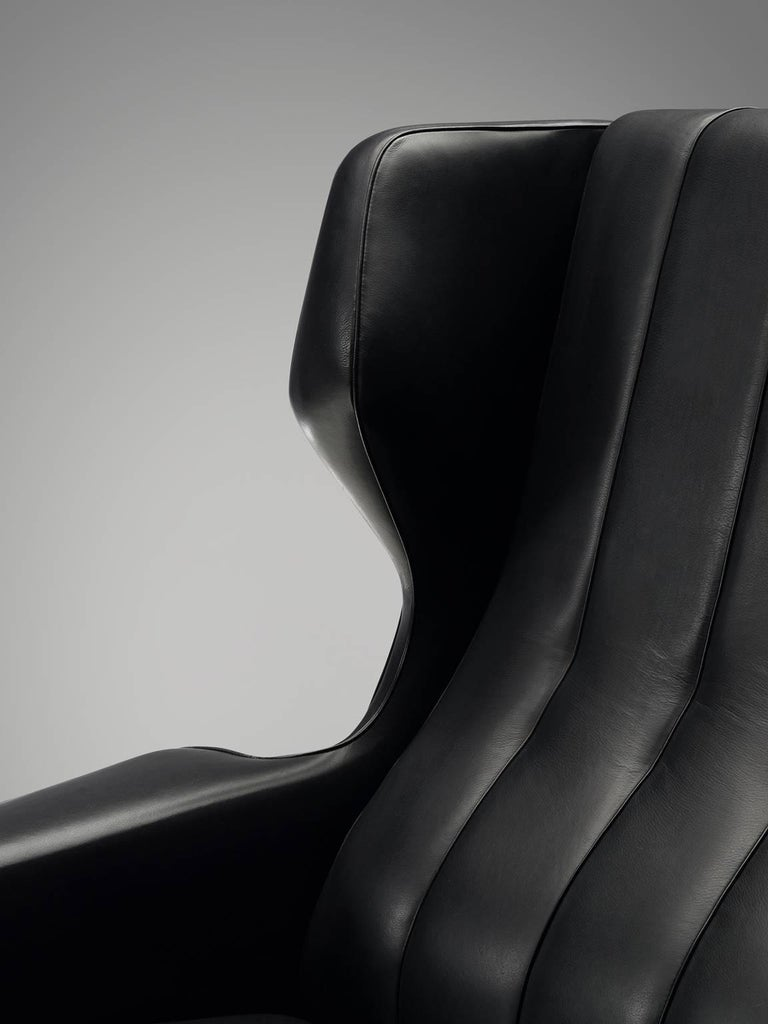 Faux Leather Gianfranco Frattini Lounge Chair Reupholstered with Aniline Leather  For Sale