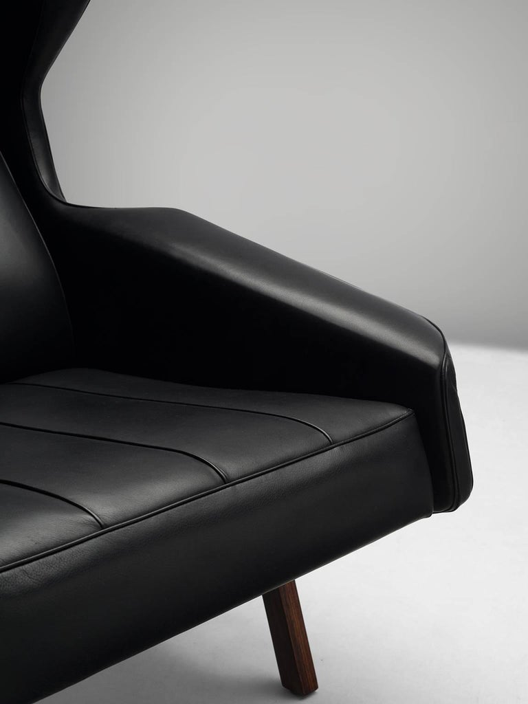 Gianfranco Frattini Chair Reupholstered with Aniline Leather Rosewood For Sale 1