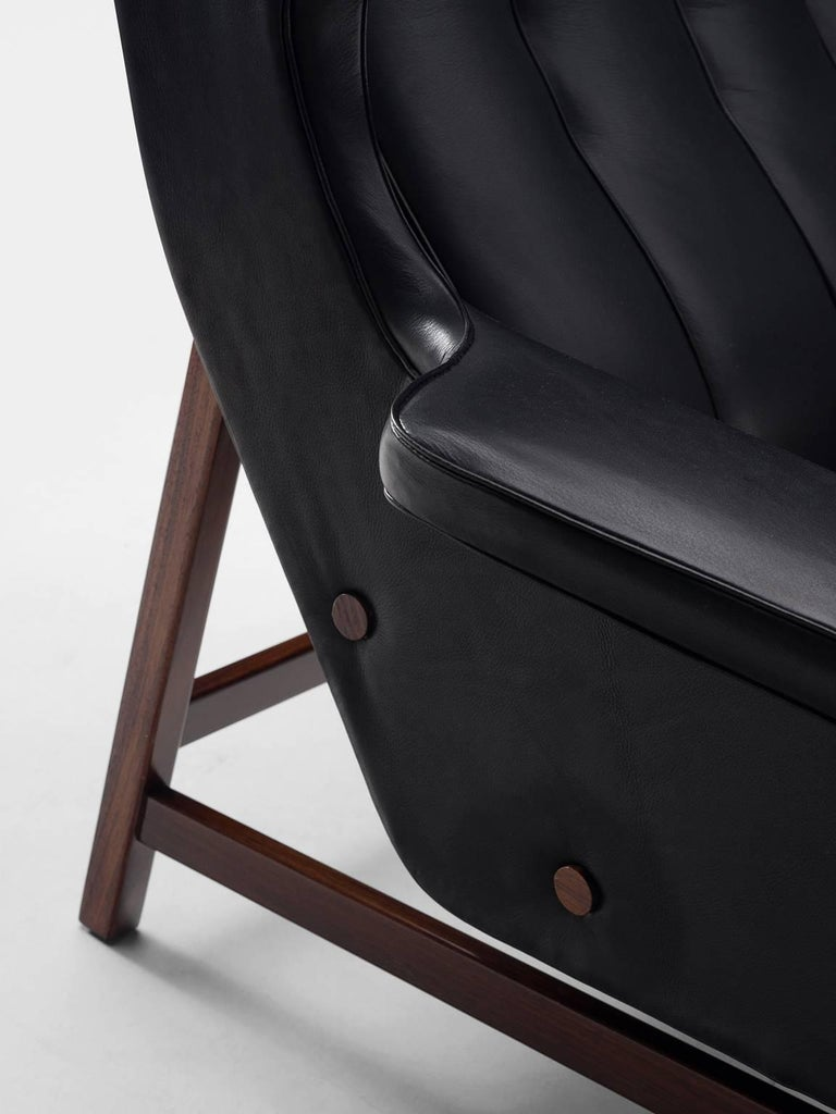 Gianfranco Frattini Chair Reupholstered with Aniline Leather Rosewood For Sale 2
