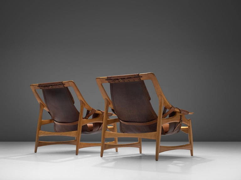 Italian W. Andersag Pair of Lounge Chairs in Teak and Brown Leather For Sale