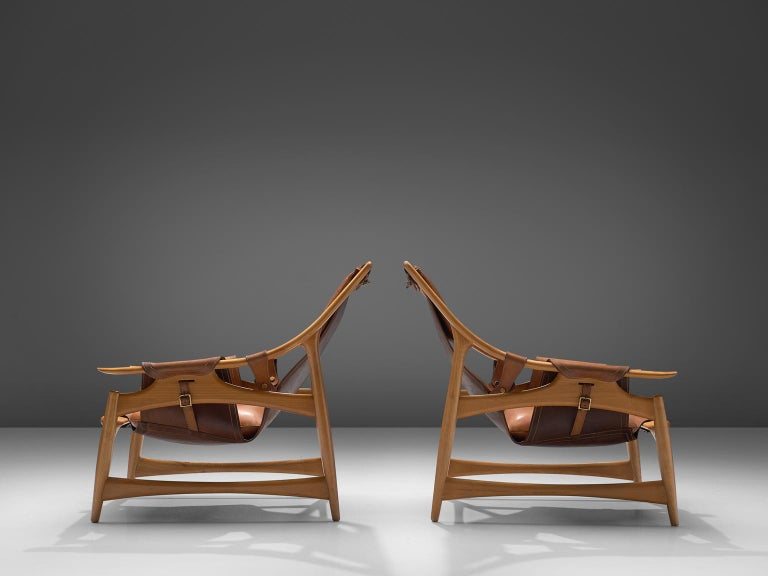 W. Andersag Pair of Lounge Chairs in Teak and Brown Leather In Good Condition For Sale In Waalwijk, NL
