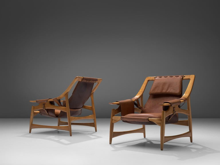 Mid-20th Century W. Andersag Pair of Lounge Chairs in Teak and Brown Leather For Sale