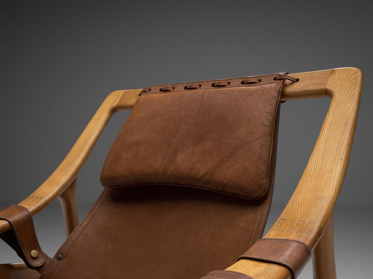 W. Andersag Pair of Lounge Chairs in Teak and Brown Leather For Sale 1