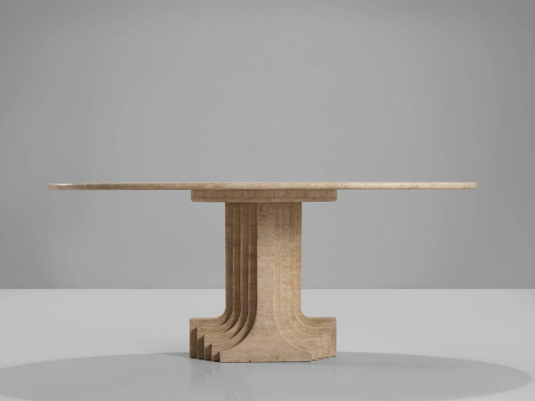 Post-Modern Carlo Scarpa Dining Table in Travertine For Sale