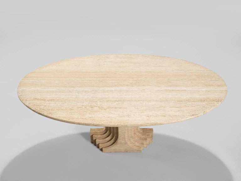 Italian Carlo Scarpa Dining Table in Travertine For Sale